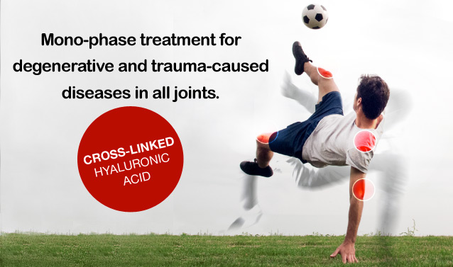 Mono-phase treatment for degenerative and trauma-caused diseases in all joints.